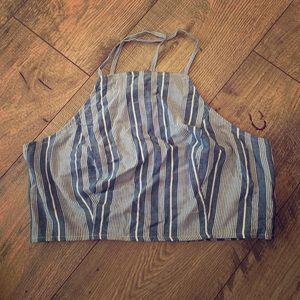 NWT American Eagle high neck striped crop top